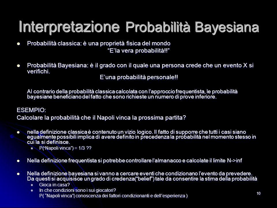 Interpretazione Probabilità Bayesiana