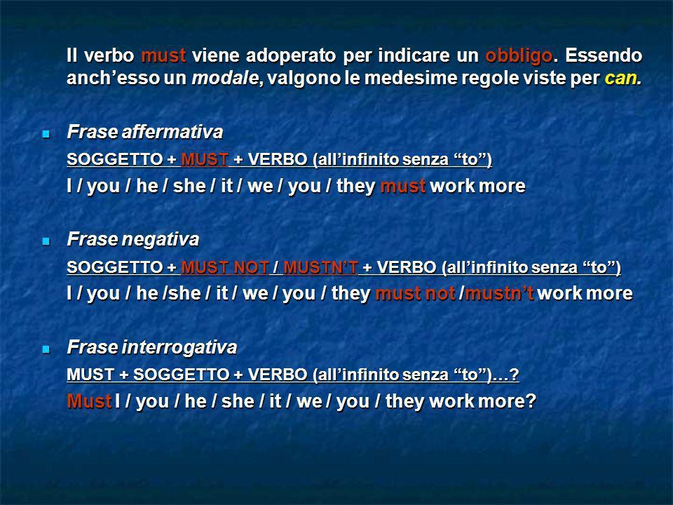 Il verbo must viene adoperato per indicare un obbligo