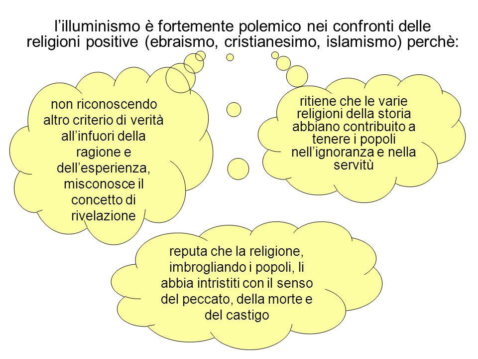 l'illuminismo è fortemente polemico nei confronti delle religioni positive (ebraismo, cristianesimo, islamismo) perchè: