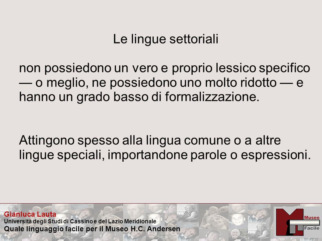 Le lingue settoriali