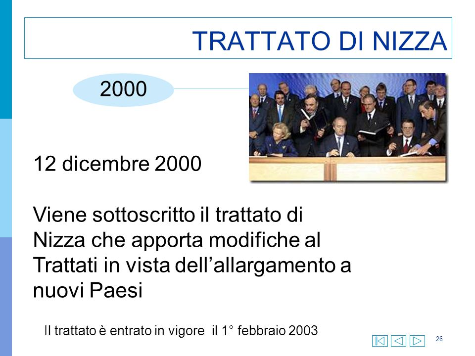 Il trattato è entrato in vigore il 1° febbraio 2003