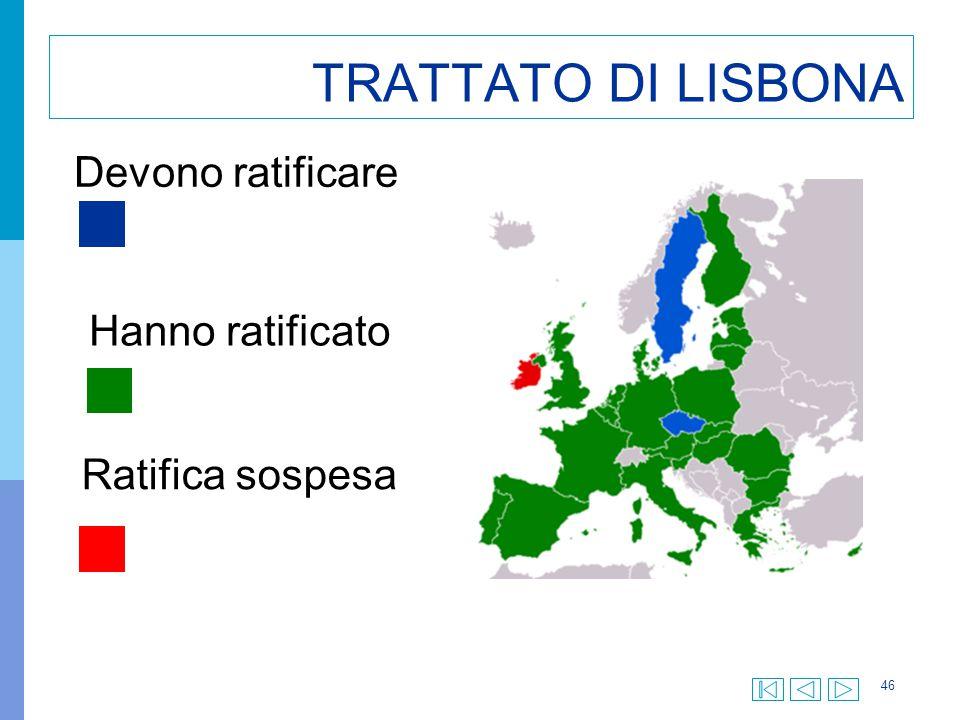 TRATTATO DI LISBONA Devono ratificare Hanno ratificato