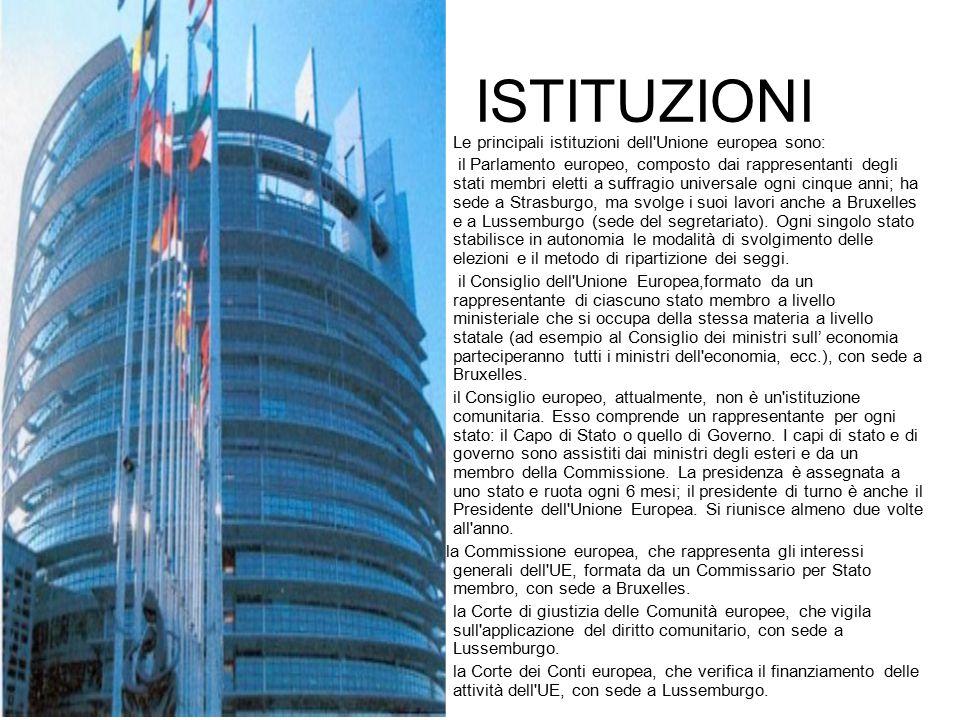 ISTITUZIONI Le principali istituzioni dell Unione europea sono: