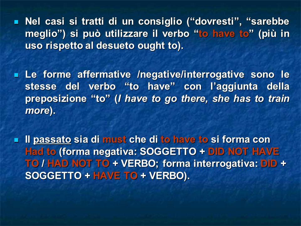Nel casi si tratti di un consiglio ( dovresti , sarebbe meglio ) si può utilizzare il verbo to have to (più in uso rispetto al desueto ought to).