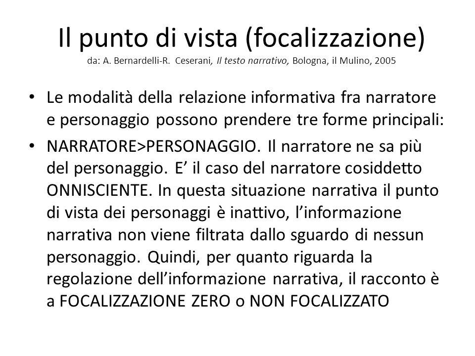 Il punto di vista (focalizzazione) da: A. Bernardelli-R