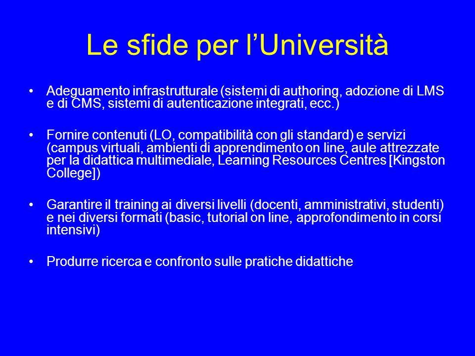 Le sfide per l'Università