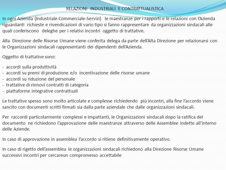 Oggetto di trattative sono: - accordi sulla produttività
