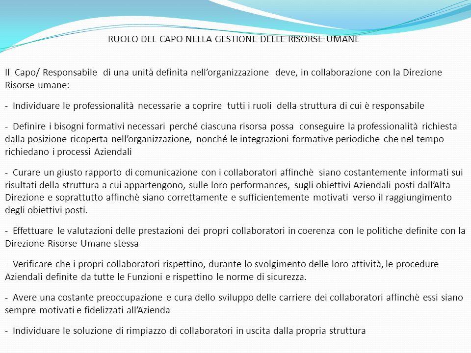 RUOLO DEL CAPO NELLA GESTIONE DELLE RISORSE UMANE
