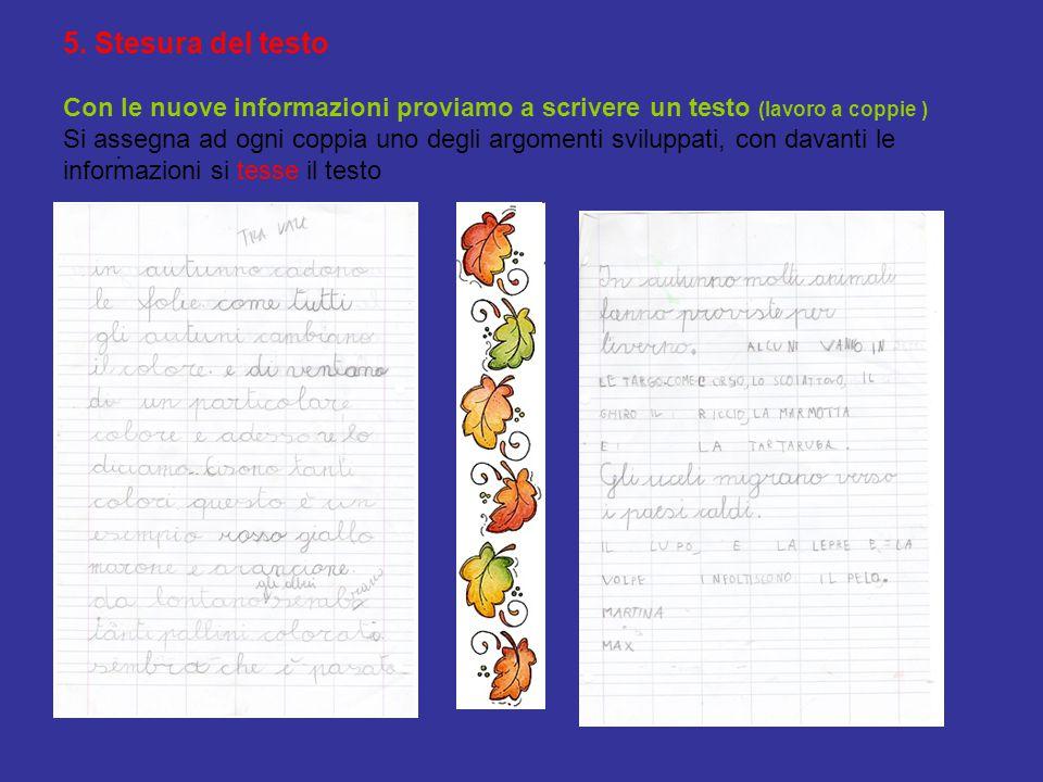 5. Stesura del testo Con le nuove informazioni proviamo a scrivere un testo (lavoro a coppie ) Si assegna ad ogni coppia uno degli argomenti sviluppati, con davanti le informazioni si tesse il testo