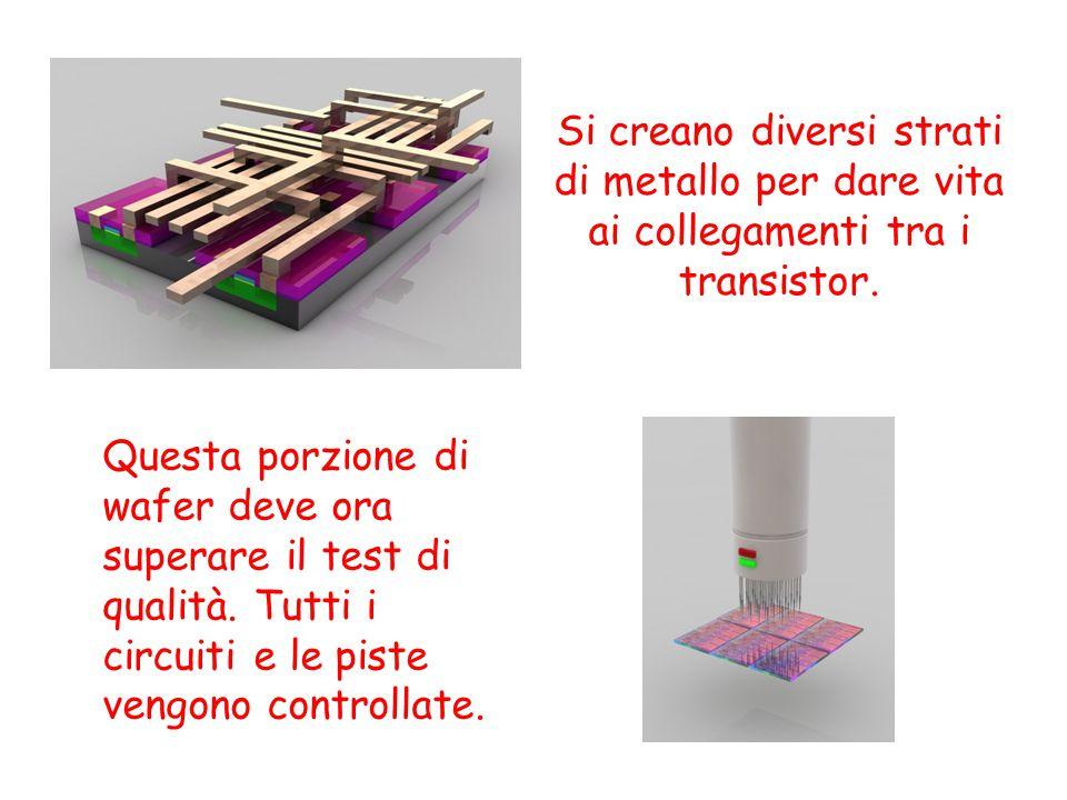 Si creano diversi strati di metallo per dare vita ai collegamenti tra i transistor.