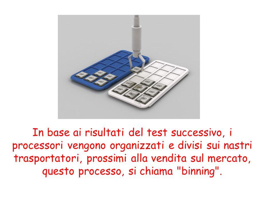In base ai risultati del test successivo, i processori vengono organizzati e divisi sui nastri trasportatori, prossimi alla vendita sul mercato, questo processo, si chiama binning .