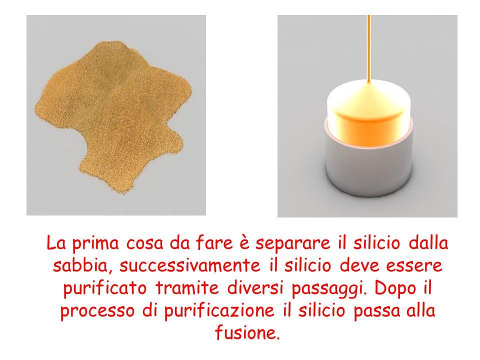 La prima cosa da fare è separare il silicio dalla sabbia, successivamente il silicio deve essere purificato tramite diversi passaggi.