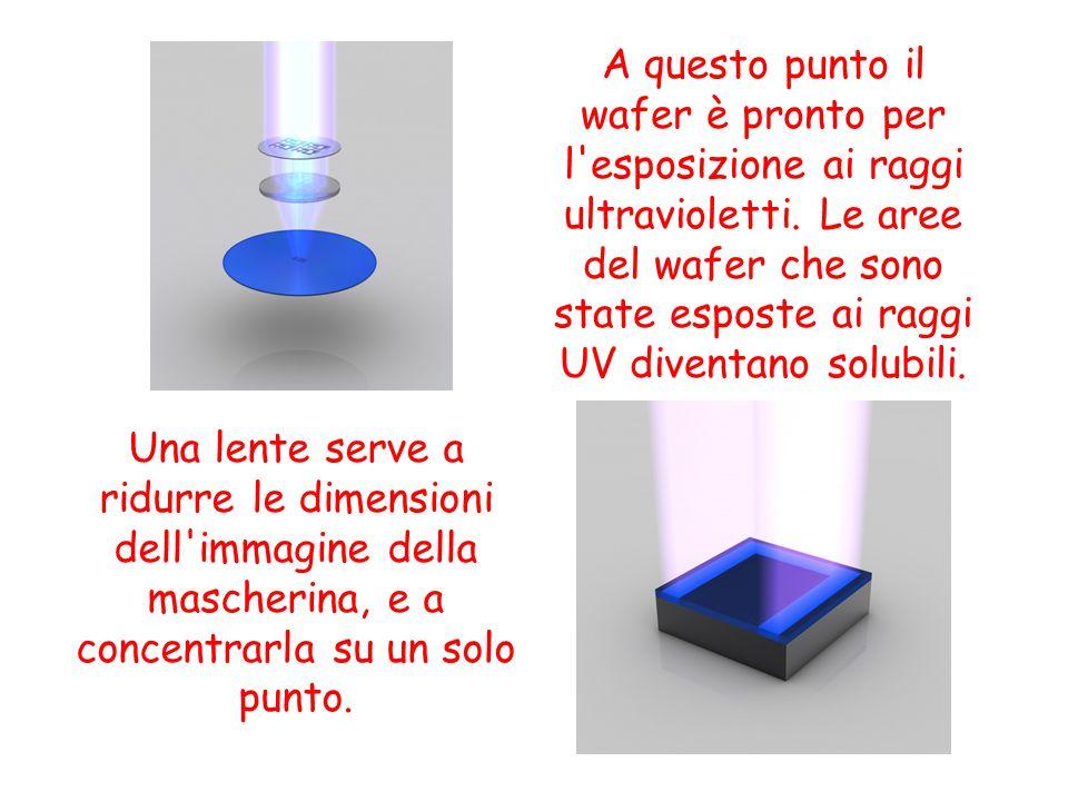 A questo punto il wafer è pronto per l esposizione ai raggi ultravioletti. Le aree del wafer che sono state esposte ai raggi UV diventano solubili.