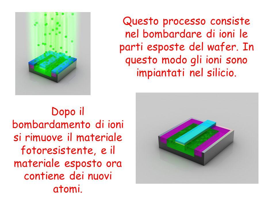 Questo processo consiste nel bombardare di ioni le parti esposte del wafer. In questo modo gli ioni sono impiantati nel silicio.