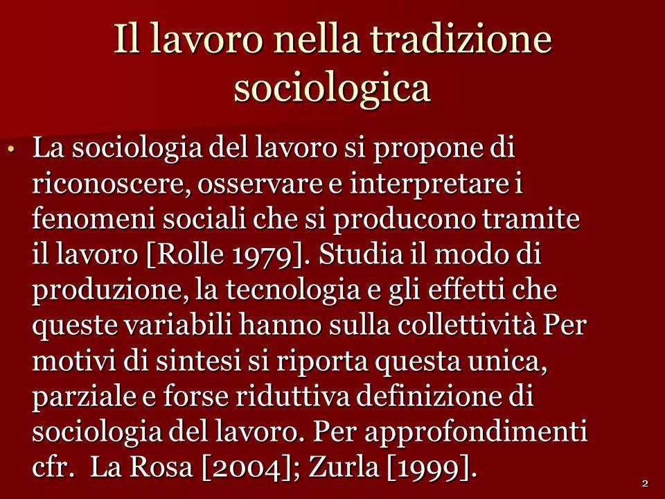 Il lavoro nella tradizione sociologica