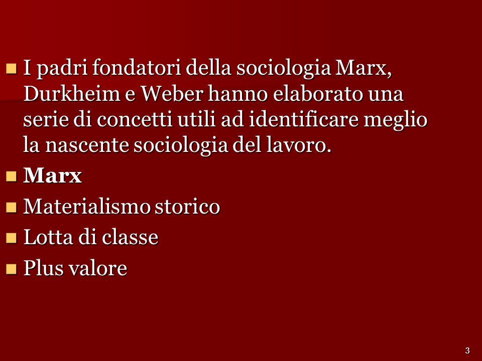 I padri fondatori della sociologia Marx, Durkheim e Weber hanno elaborato una serie di concetti utili ad identificare meglio la nascente sociologia del lavoro.