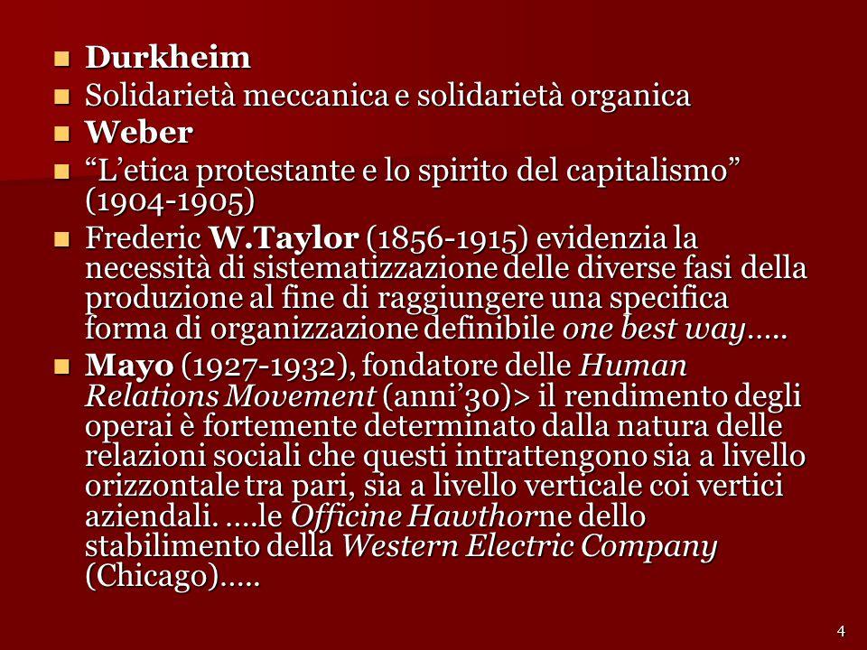 Durkheim Solidarietà meccanica e solidarietà organica. Weber. L'etica protestante e lo spirito del capitalismo (1904-1905)