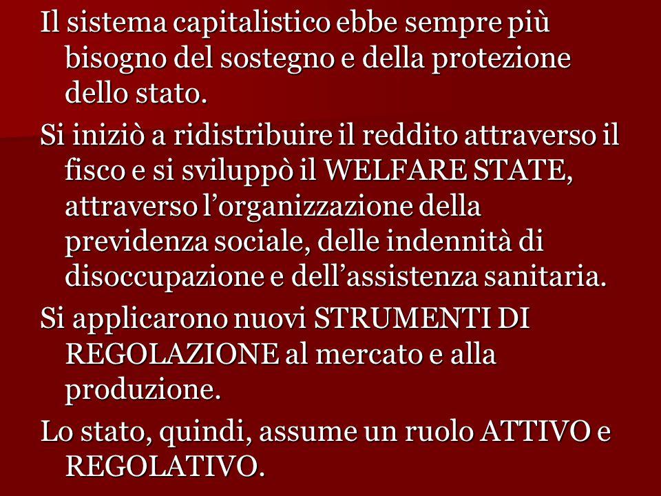 Il sistema capitalistico ebbe sempre più bisogno del sostegno e della protezione dello stato.
