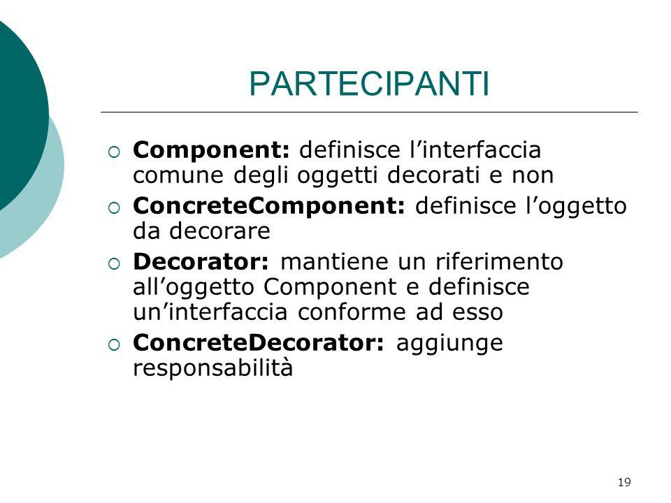 PARTECIPANTI Component: definisce l'interfaccia comune degli oggetti decorati e non. ConcreteComponent: definisce l'oggetto da decorare.
