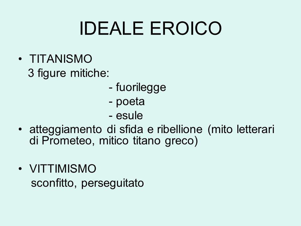 IDEALE EROICO TITANISMO 3 figure mitiche: - fuorilegge - poeta - esule