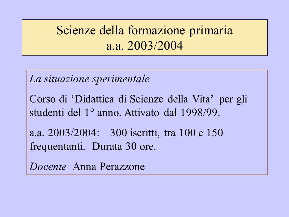 Scienze della formazione primaria a.a. 2003/2004