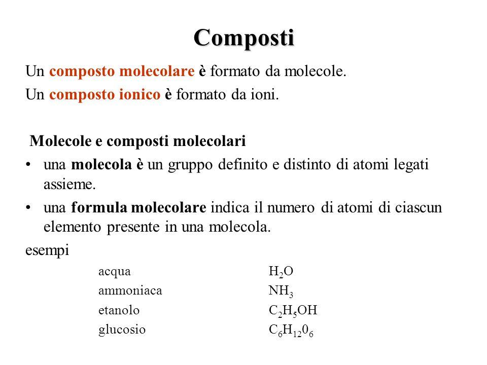 Composti Un composto molecolare è formato da molecole.