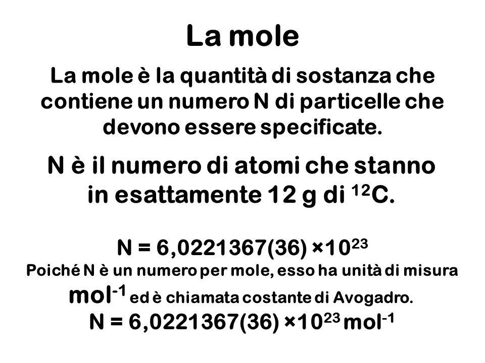 N è il numero di atomi che stanno in esattamente 12 g di 12C.