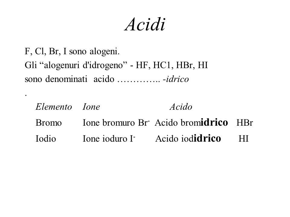 Acidi F, Cl, Br, I sono alogeni.