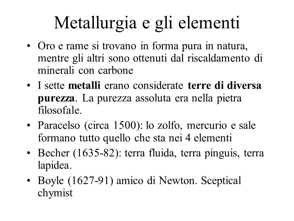 Metallurgia e gli elementi