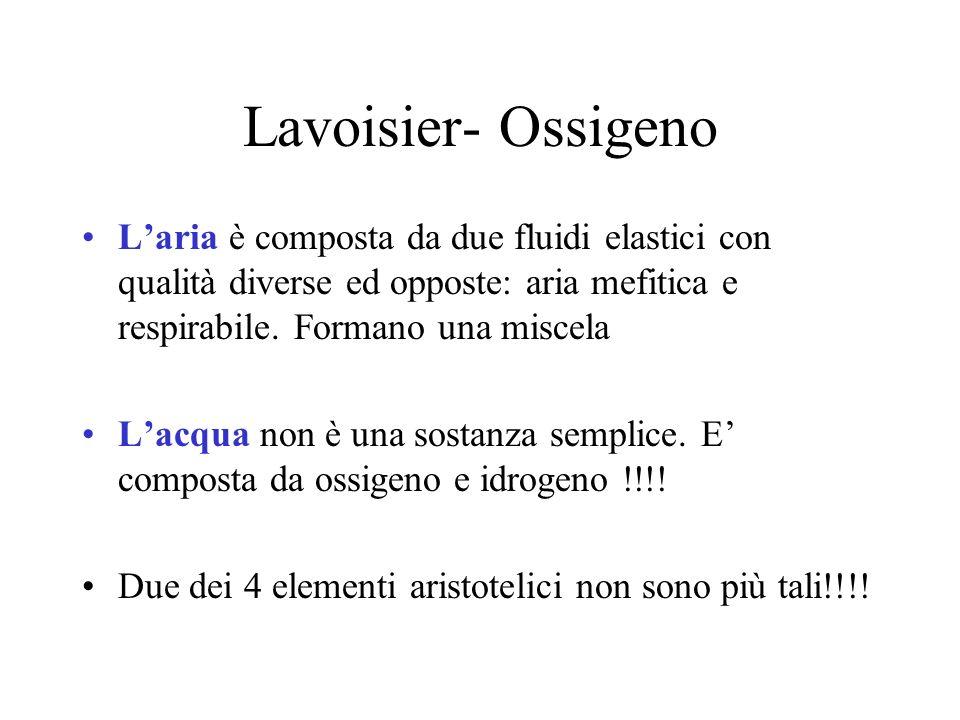 Lavoisier- Ossigeno L'aria è composta da due fluidi elastici con qualità diverse ed opposte: aria mefitica e respirabile. Formano una miscela.