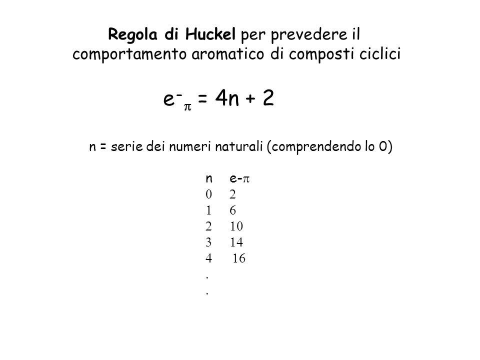 e-p = 4n + 2 Regola di Huckel per prevedere il