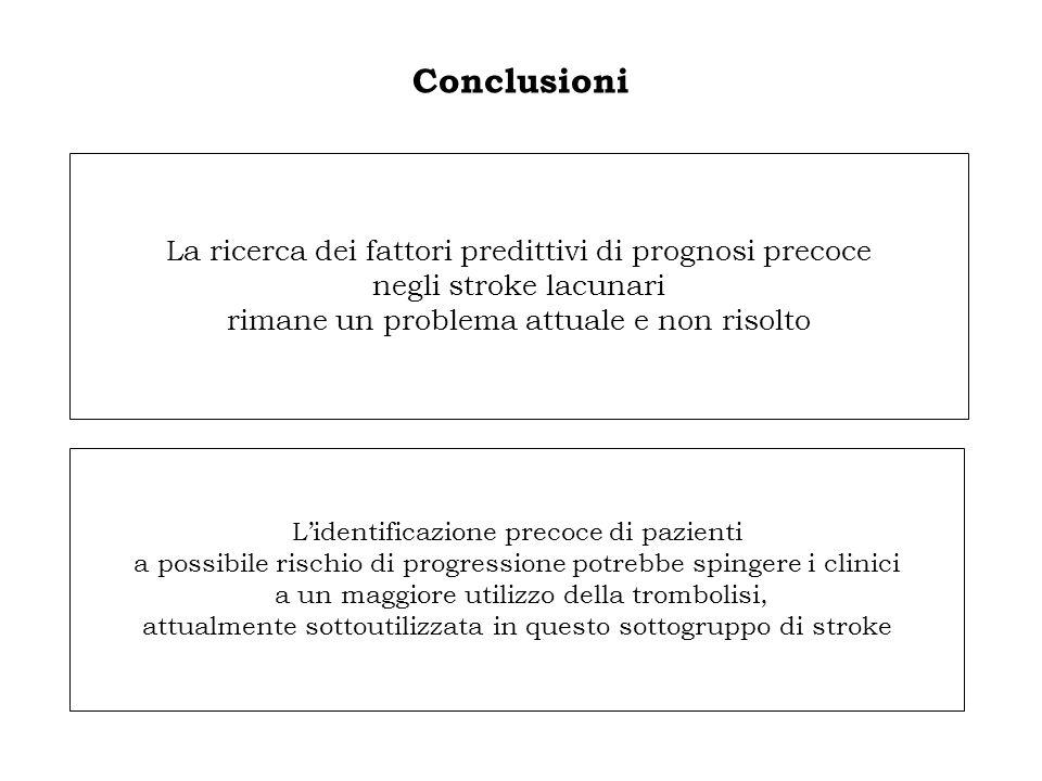 Conclusioni La ricerca dei fattori predittivi di prognosi precoce negli stroke lacunari rimane un problema attuale e non risolto.