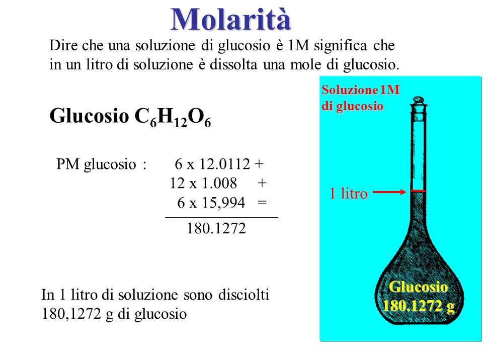 MolaritàDire che una soluzione di glucosio è 1M significa che. in un litro di soluzione è dissolta una mole di glucosio.