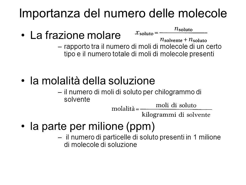 Importanza del numero delle molecole
