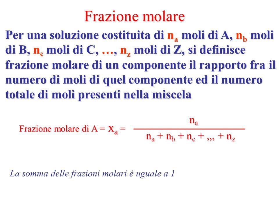 Frazione molare Per una soluzione costituita di na moli di A, nb moli