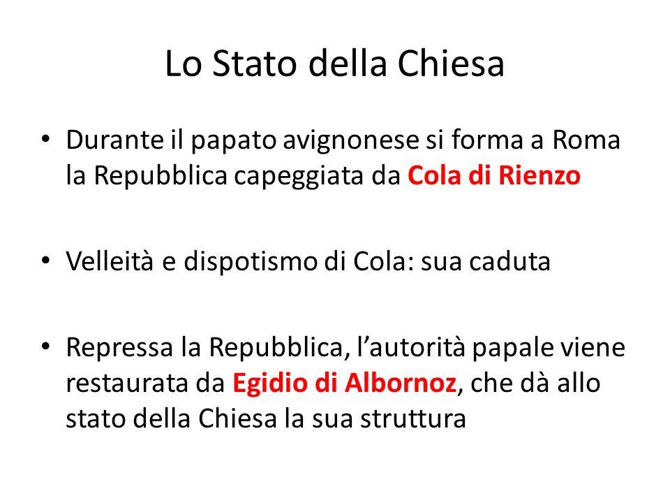 Lo Stato della Chiesa Durante il papato avignonese si forma a Roma la Repubblica capeggiata da Cola di Rienzo.