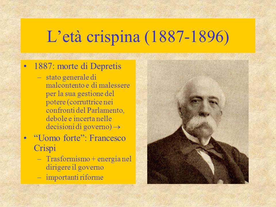 L'età crispina (1887-1896) 1887: morte di Depretis