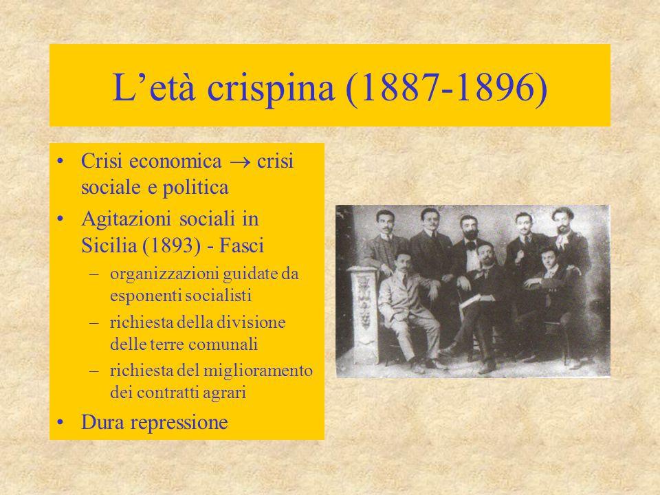 L'età crispina (1887-1896) Crisi economica  crisi sociale e politica