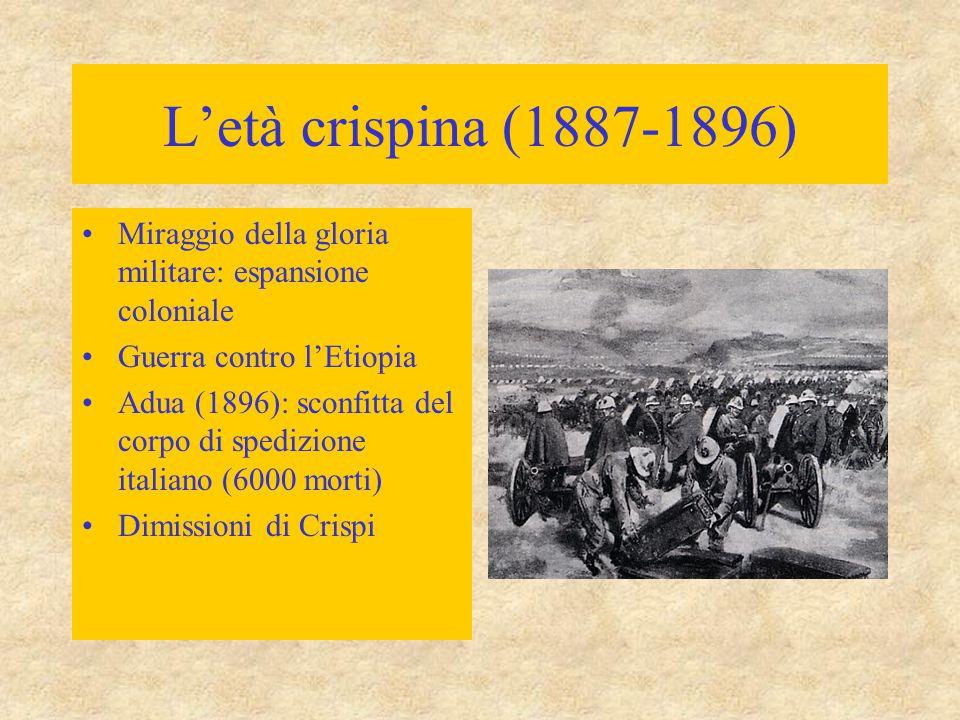 L'età crispina (1887-1896) Miraggio della gloria militare: espansione coloniale. Guerra contro l'Etiopia.