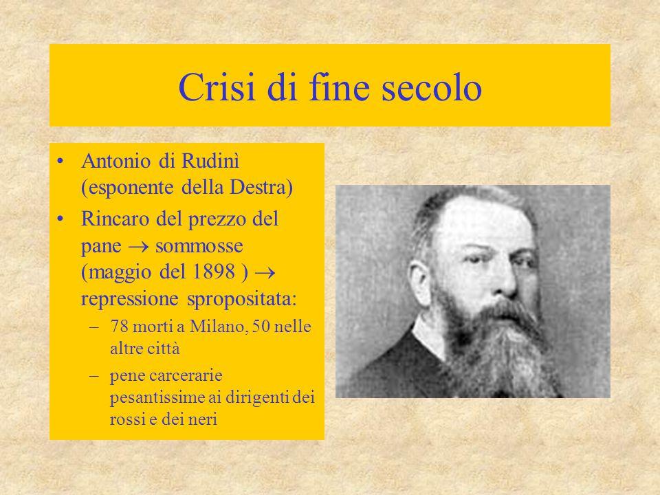 Crisi di fine secolo Antonio di Rudinì (esponente della Destra)