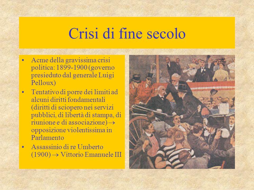 Crisi di fine secolo Acme della gravissima crisi politica: 1899-1900 (governo presieduto dal generale Luigi Pelloux)