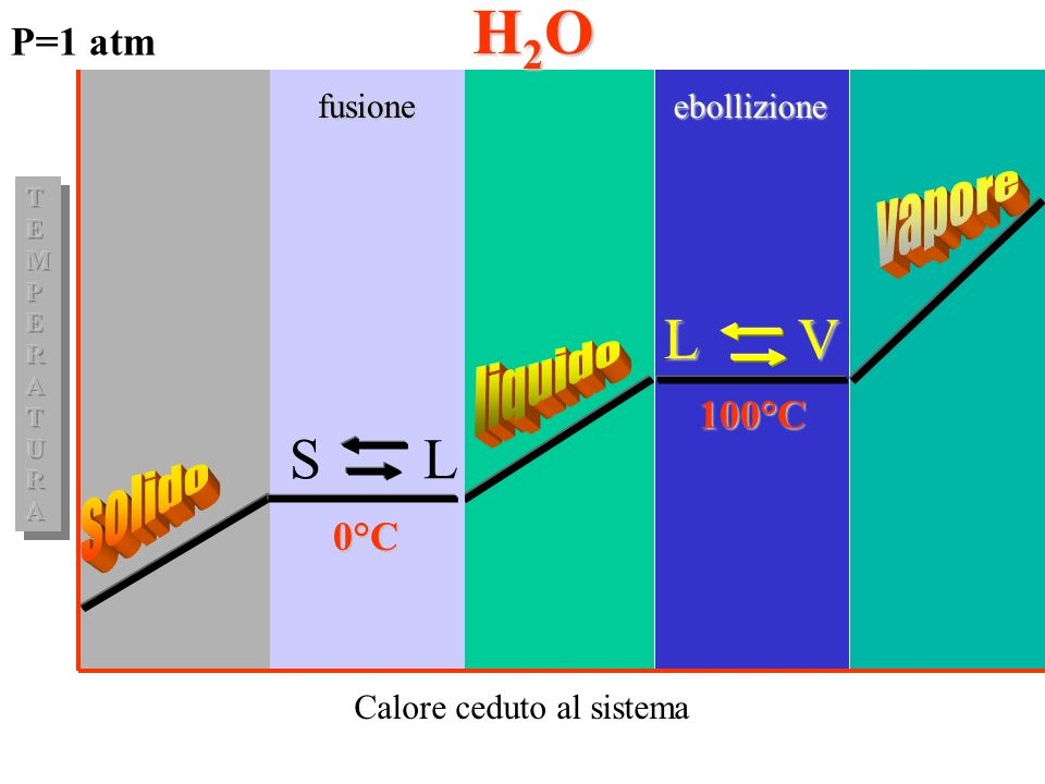 H2O L V S L vapore liquido solido P=1 atm 100°C 0°C fusione