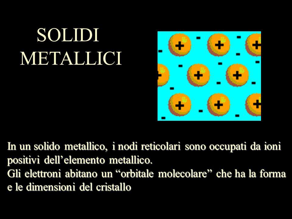 SOLIDI METALLICI. In un solido metallico, i nodi reticolari sono occupati da ioni. positivi dell'elemento metallico.