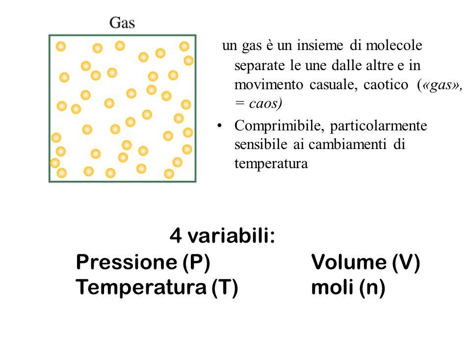 un gas è un insieme di molecole separate le une dalle altre e in movimento casuale, caotico («gas», = caos)