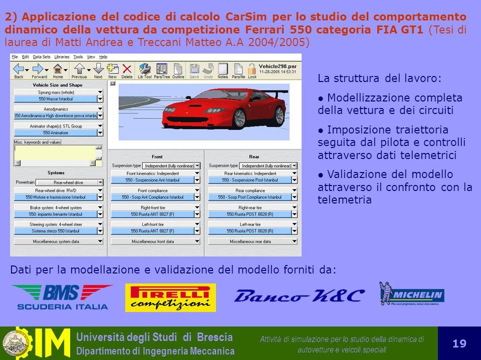 2) Applicazione del codice di calcolo CarSim per lo studio del comportamento dinamico della vettura da competizione Ferrari 550 categoria FIA GT1 (Tesi di laurea di Matti Andrea e Treccani Matteo A.A 2004/2005)