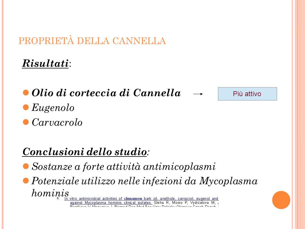 Olio di corteccia di Cannella Eugenolo Carvacrolo