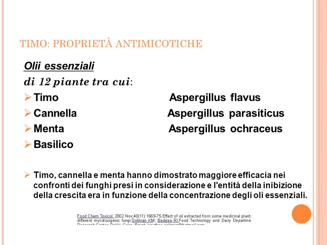 Timo Aspergillus flavus Cannella Aspergillus parasiticus