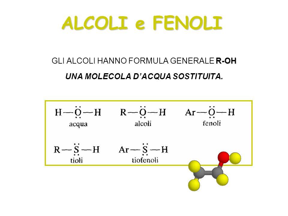 ALCOLI e FENOLI GLI ALCOLI HANNO FORMULA GENERALE R-OH