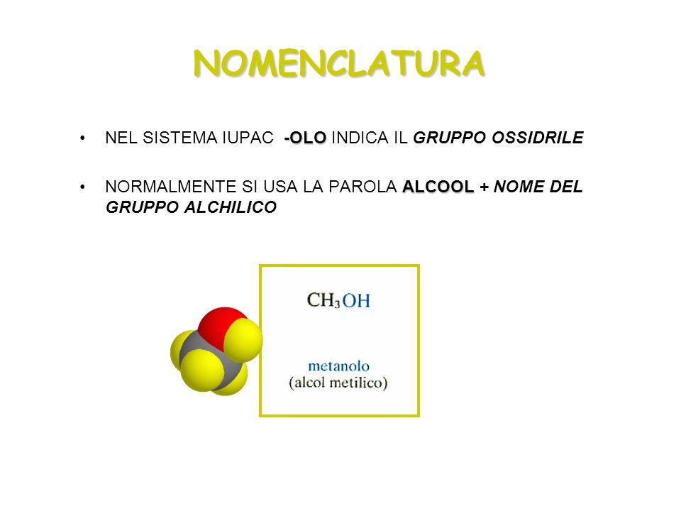 NOMENCLATURA NEL SISTEMA IUPAC -OLO INDICA IL GRUPPO OSSIDRILE