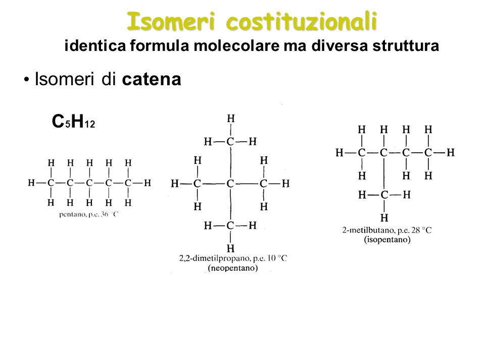 Isomeri costituzionali identica formula molecolare ma diversa struttura